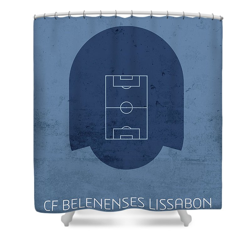 Cf Shower Curtain featuring the mixed media Cf Belenenses Lissabon Stadium Football Soccer Minimalist Series by Design Turnpike