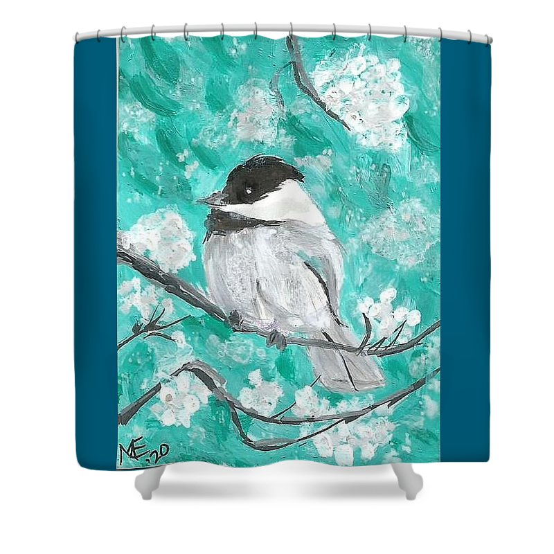 Chickadee Painting Shower Curtain featuring the painting Chickadee by Monica Resinger