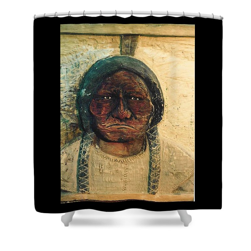 Indian Shower Curtain featuring the sculpture Chief Sitting Bull by Michael Pasko