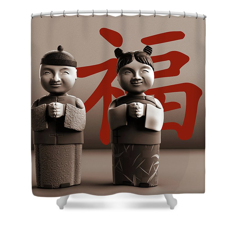 Chinese Shower Curtain featuring the digital art Chinese Statues_Sepia by Heike Remy