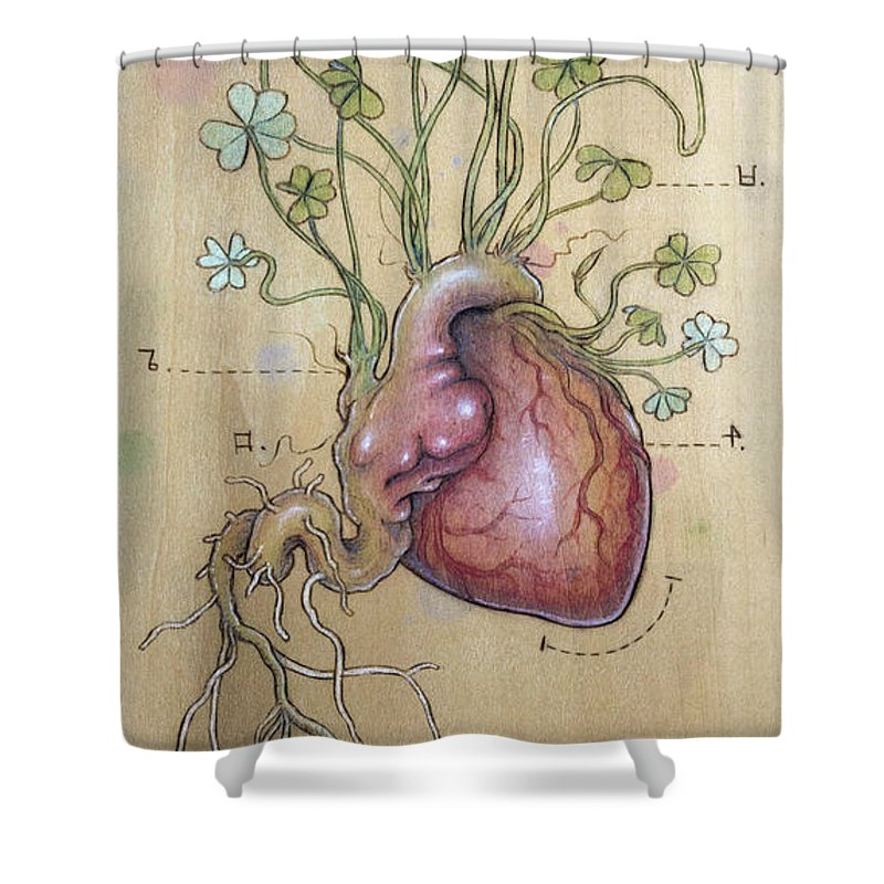 Clover Shower Curtain featuring the pyrography Clover Heart by Fay Helfer