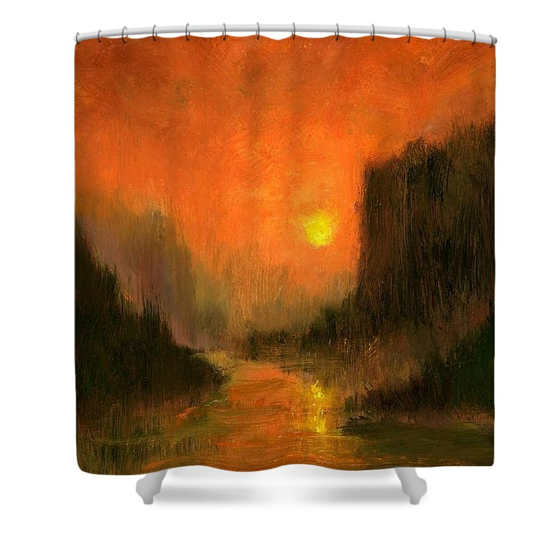 Miniatures Oil Paintings Shower Curtain featuring the painting Columbia Gorge Nocturn by Jim Gola