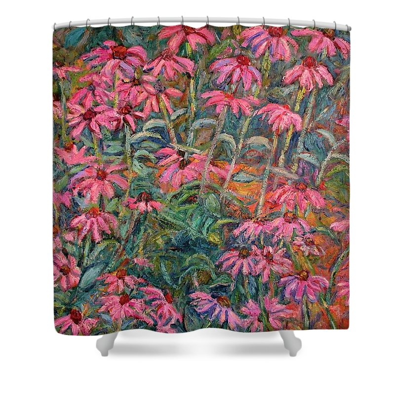Kendall Kessler Shower Curtain featuring the painting Coneflowers by Kendall Kessler