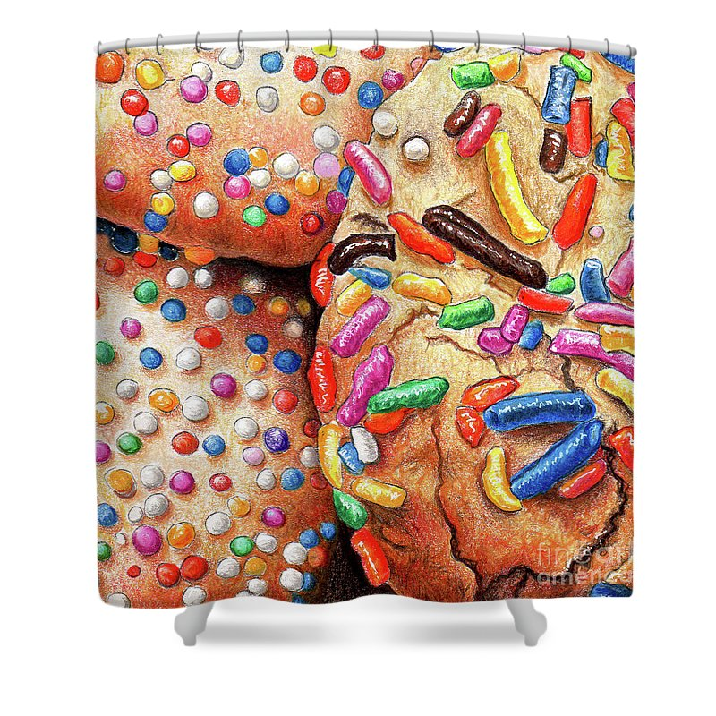 Cookie Shower Curtain featuring the drawing Cookies by Nancy Mueller