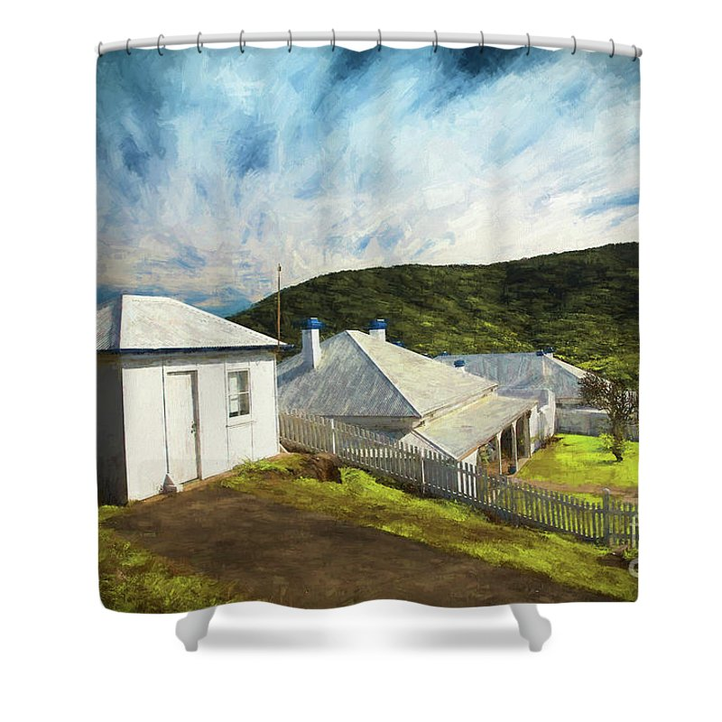 Painterly Image Shower Curtain featuring the photograph Cottages at Smoky Cape, Rembrandt style by Sheila Smart Fine Art Photography