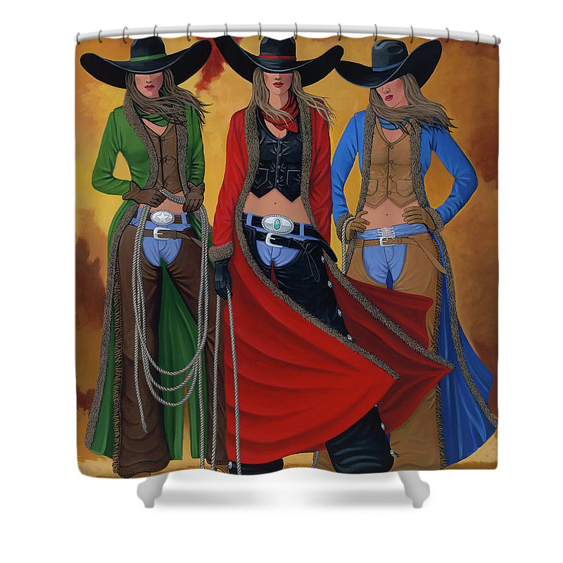 Cowgirl Shower Curtain featuring the painting Cowgirl Up by Lance Headlee