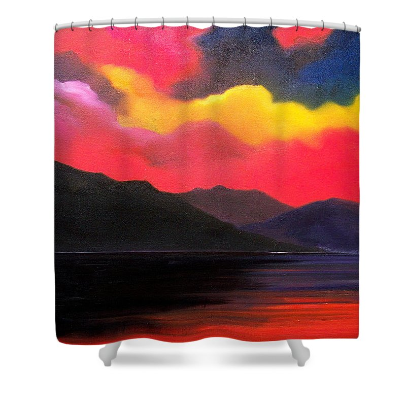 Surreal Shower Curtain featuring the painting Crimson clouds by Sergey Bezhinets