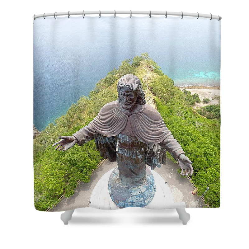 Adventure Shower Curtain featuring the photograph Cristo Rei of Dili statue of Jesus by Brthrjhn2099