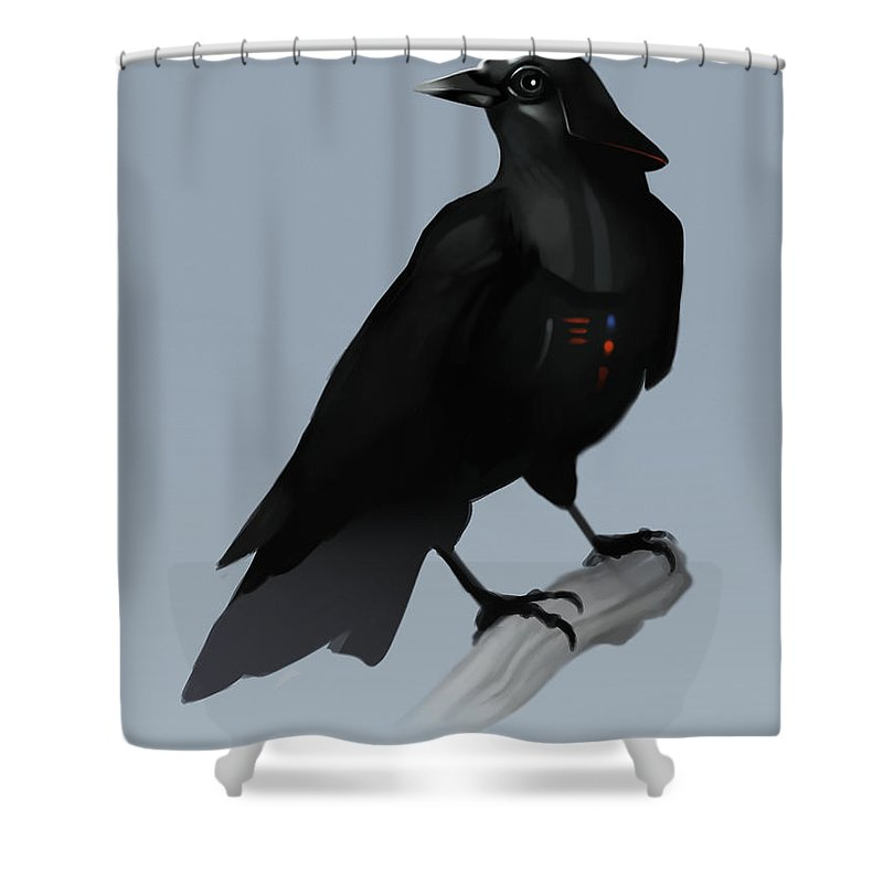 Birds Shower Curtain featuring the digital art Crow Vader by Michael Myers