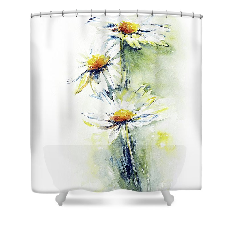 Flower Shower Curtain featuring the painting Daisy Chain by Stephie Butler