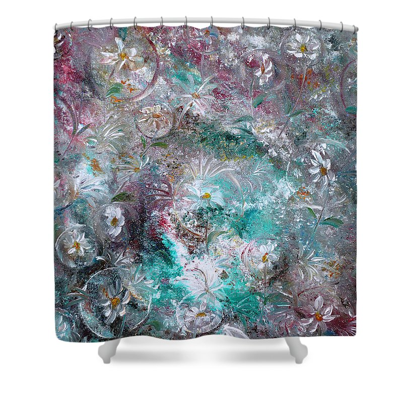 Original Flower Abstract Painting Shower Curtain featuring the painting Daisy Dreamz by Karin Dawn Kelshall- Best
