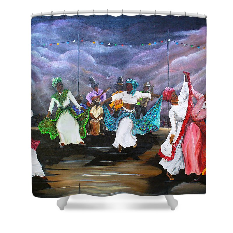 Caribbean Painting Original Painting Folklore Dance Painting Trinidad And Tobago Painting Dance Painting Tropical Painting Shower Curtain featuring the painting Dance The Pique by Karin Dawn Kelshall- Best