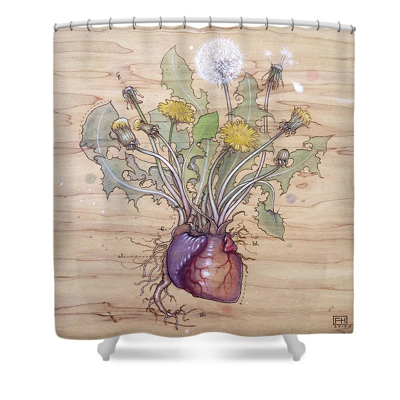 Dandelion Shower Curtain featuring the pyrography Dandelion Heart by Fay Helfer