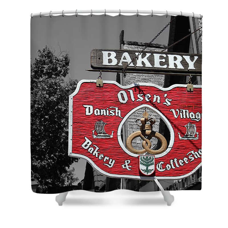 Bakery Shower Curtain featuring the photograph Danish Bakery and Coffeeshop Sign Selective Coloring Solvang CA by Colleen Cornelius