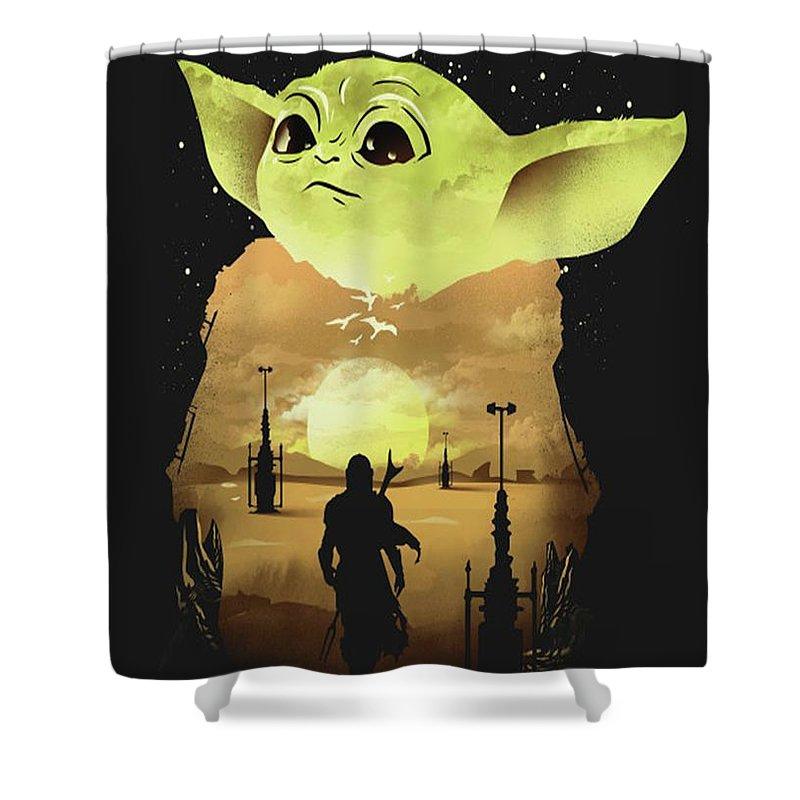 Star Wars Shower Curtain featuring the digital art Dark Baby Yoda by Trindira A