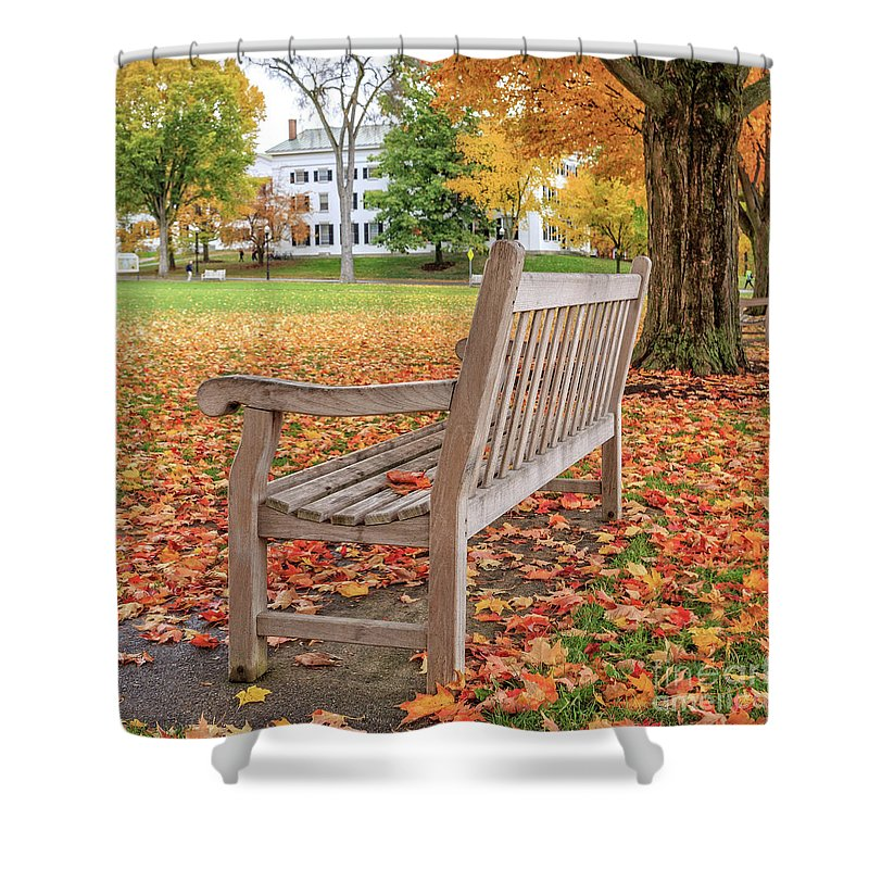 Dartmouth Shower Curtain featuring the photograph Dartmouth Hanover Green In Autumn Square by Edward Fielding