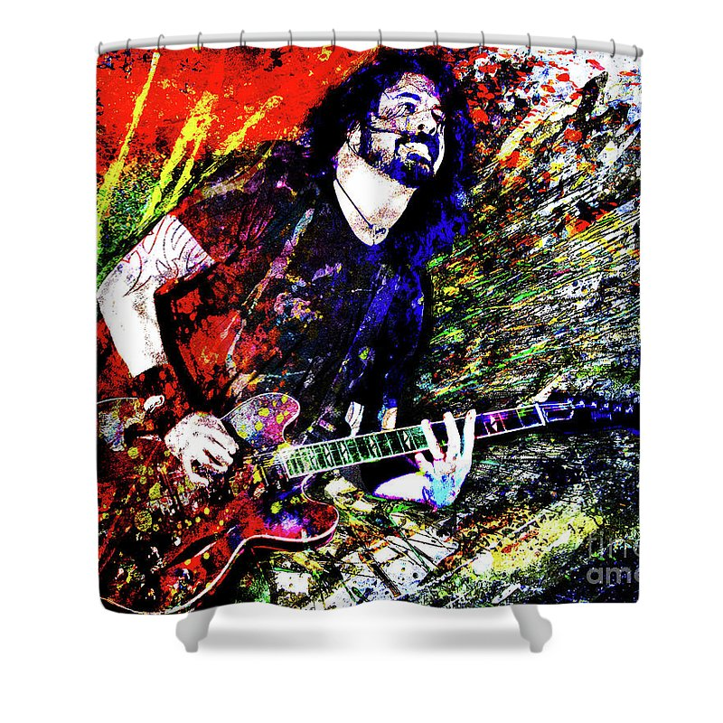 Dave Grohl Shower Curtain featuring the mixed media Dave Grohl Art by Ryan Rock Artist