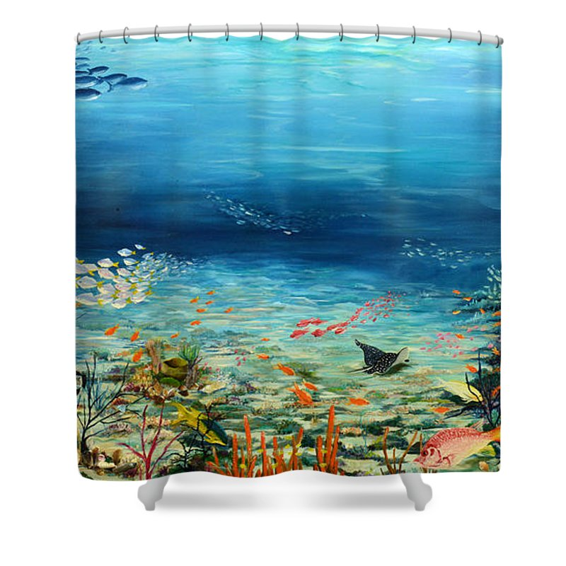 Ocean Painting Undersea Painting Coral Reef Painting Caribbean Painting Calypso Reef Painting Undersea Fishes Coral Reef Blue Sea Stingray Painting Tropical Reef Painting Tropical Painting Shower Curtain featuring the painting Deep Blue Dreaming by Karin Dawn Kelshall- Best