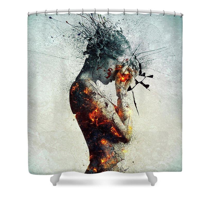 Deliberation Shower Curtain featuring the digital art Deliberation by Mario Sanchez Nevado