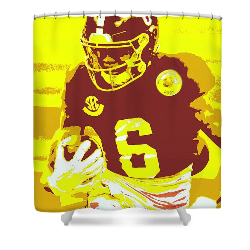 Devonta Smith Shower Curtain featuring the painting DeVonta Smith by Jack Bunds