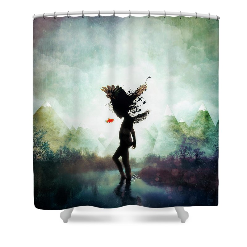 Digital Art Shower Curtain featuring the digital art Discovery by Mario Sanchez Nevado