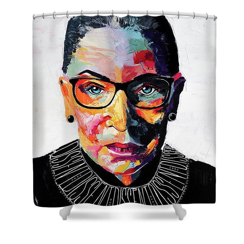 Portrait Shower Curtain featuring the painting Dissent by LA Smith