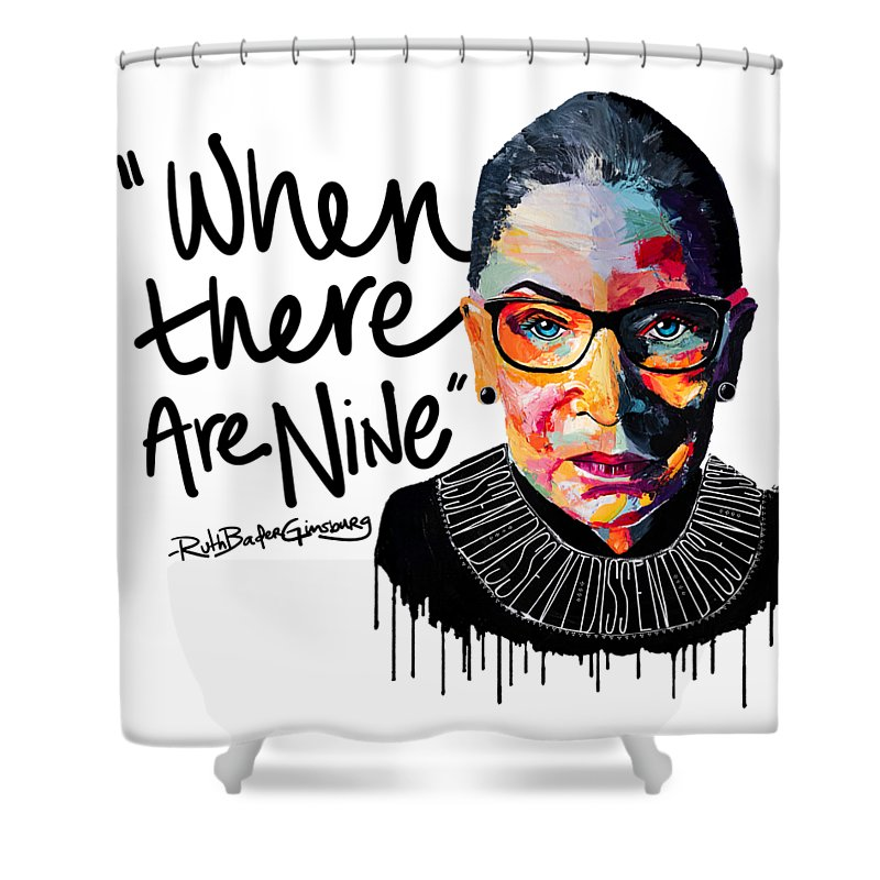 Portrait Shower Curtain featuring the painting Dissent - When There Are Nine by LA Smith