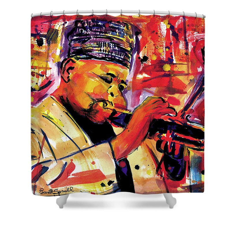 African Mask Shower Curtain featuring the painting Dizzy Gillespie by Everett Spruill