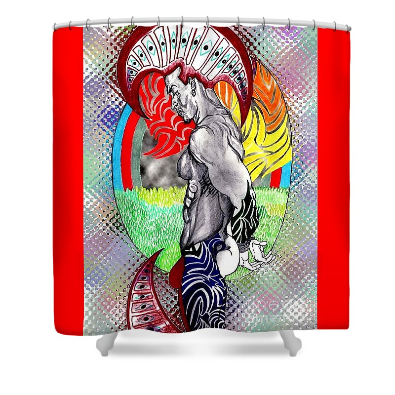 Male Shower Curtain featuring the drawing Don't Take My Mind On A Trip-jan. 23, 2007 by Antonio Tonyboy Garrett