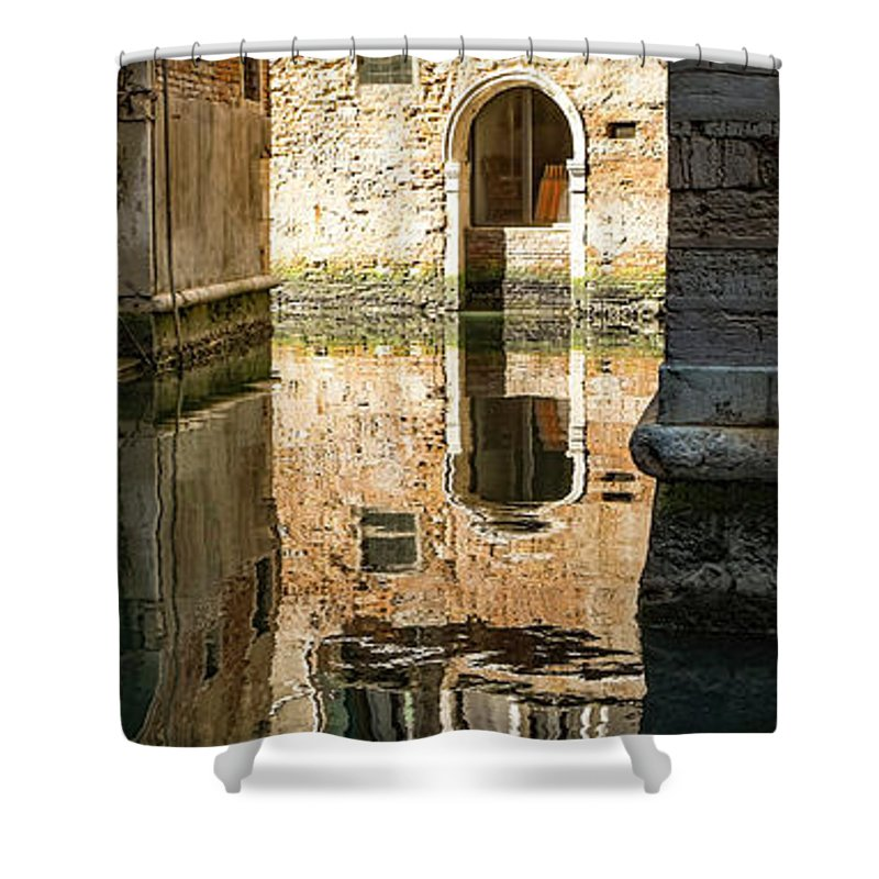 Portadacqua Shower Curtain featuring the photograph Dscf8017 - Waterdoor Reflection by Marco Missiaja