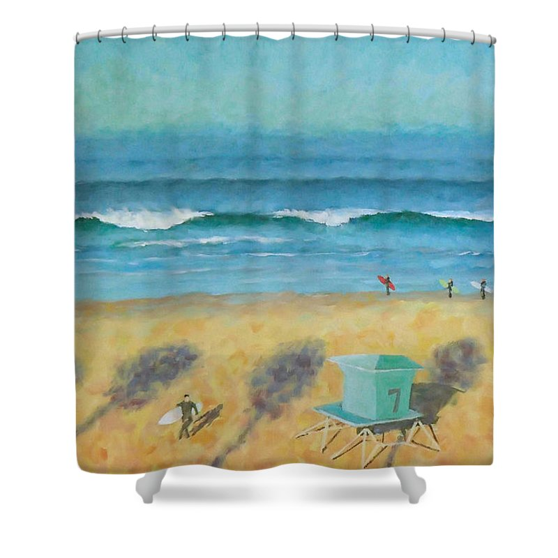Life Guard Tower Shower Curtain featuring the painting Tower Number Seven by Philip Fleischer