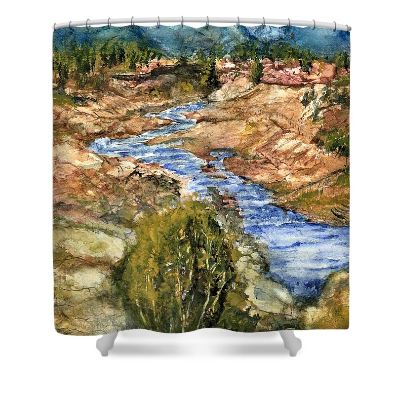 California Shower Curtain featuring the painting Eaton Canyon High Desert Creek by Randy Sprout