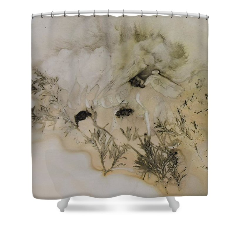 Nature Shower Curtain featuring the mixed media Eco print 5 by Charla Van Vlack