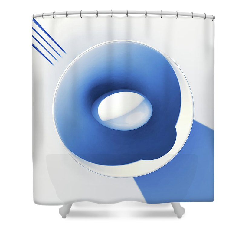 Egg Shower Curtain featuring the digital art Egg and Bowl_electric blue after Cesare Onestini by Heike Remy