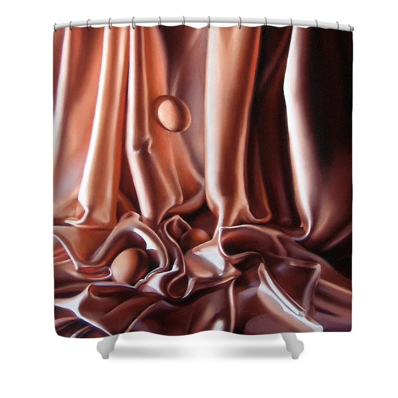 Eggs Shower Curtain featuring the painting Egg Falls by Dianna Ponting