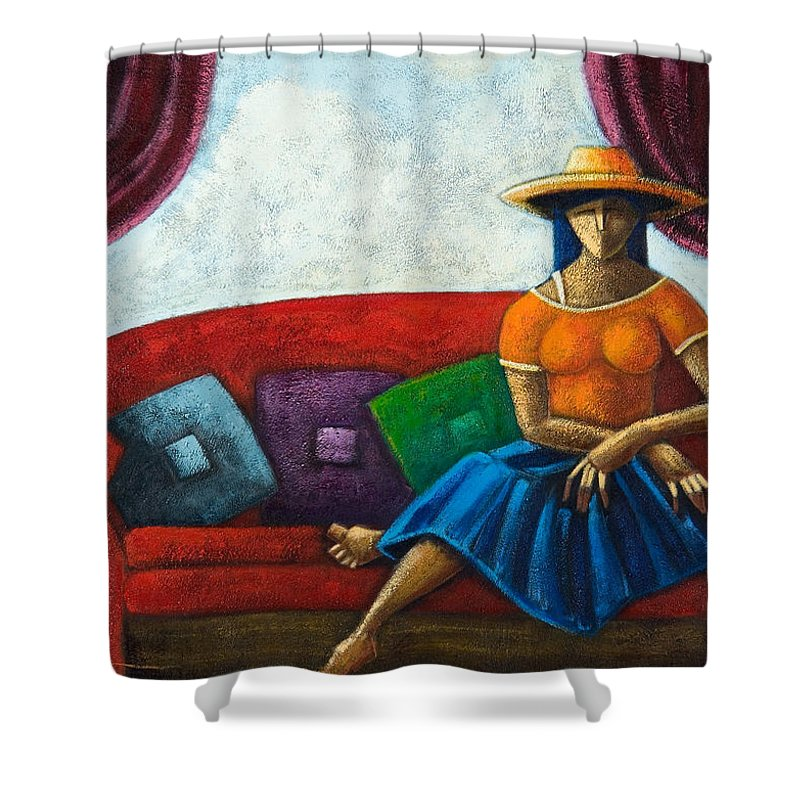Puerto Rico Shower Curtain featuring the painting El Ultimo Romance Del Verano by Oscar Ortiz