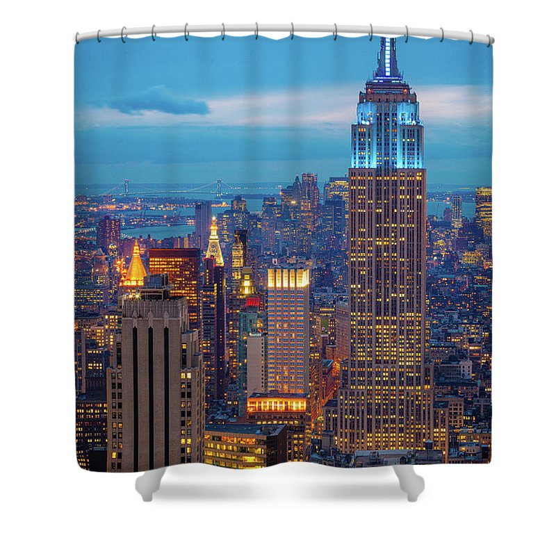 America Shower Curtain featuring the photograph Empire State Blue Night by Inge Johnsson