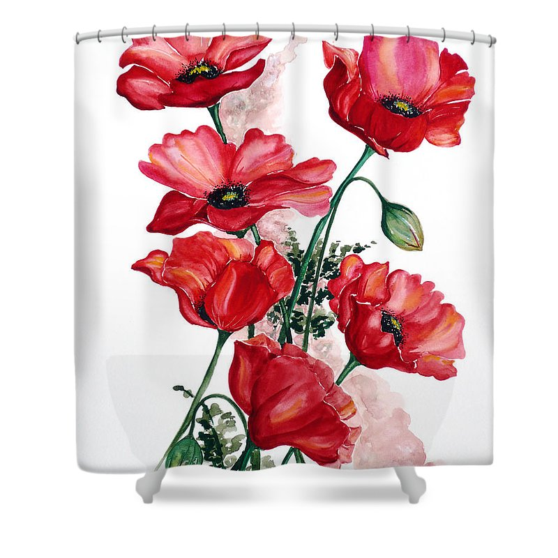 Original Watercolor Of English Field Poppies Painted On Arches Watercolor Paper Shower Curtain featuring the painting English Field Poppies. by Karin Dawn Kelshall- Best