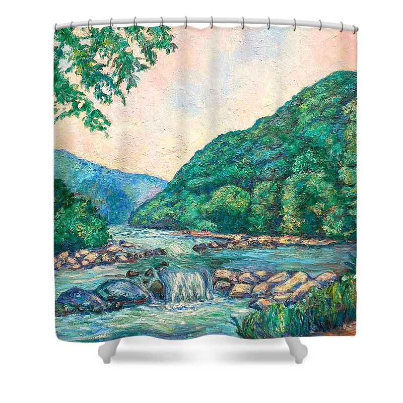 Landscape Shower Curtain featuring the painting Evening River Scene by Kendall Kessler
