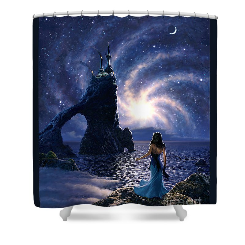 Space Shower Curtain featuring the painting Far Synura by Stu Shepherd