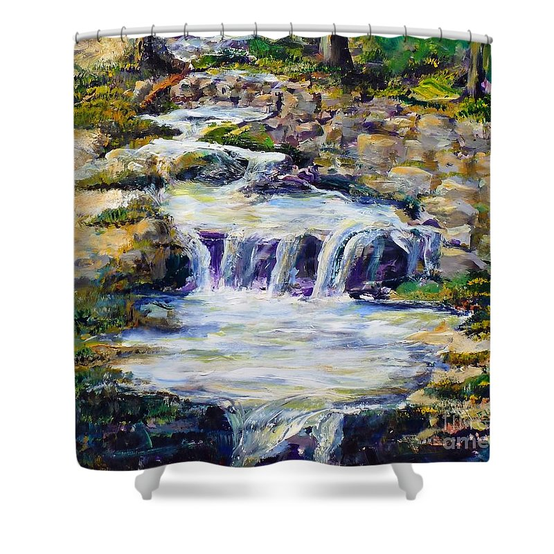 Los Angeles Shower Curtain featuring the painting Fern Dell Creek Noon by Randy Sprout