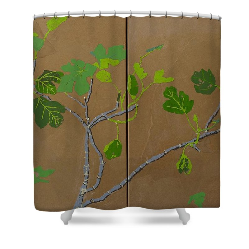 Collage Shower Curtain featuring the painting Figless Figs by Leah Tomaino