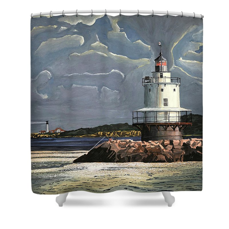 Lighthouse Shower Curtain featuring the painting Fishing on the Lighthouse Jetty by Dominic White
