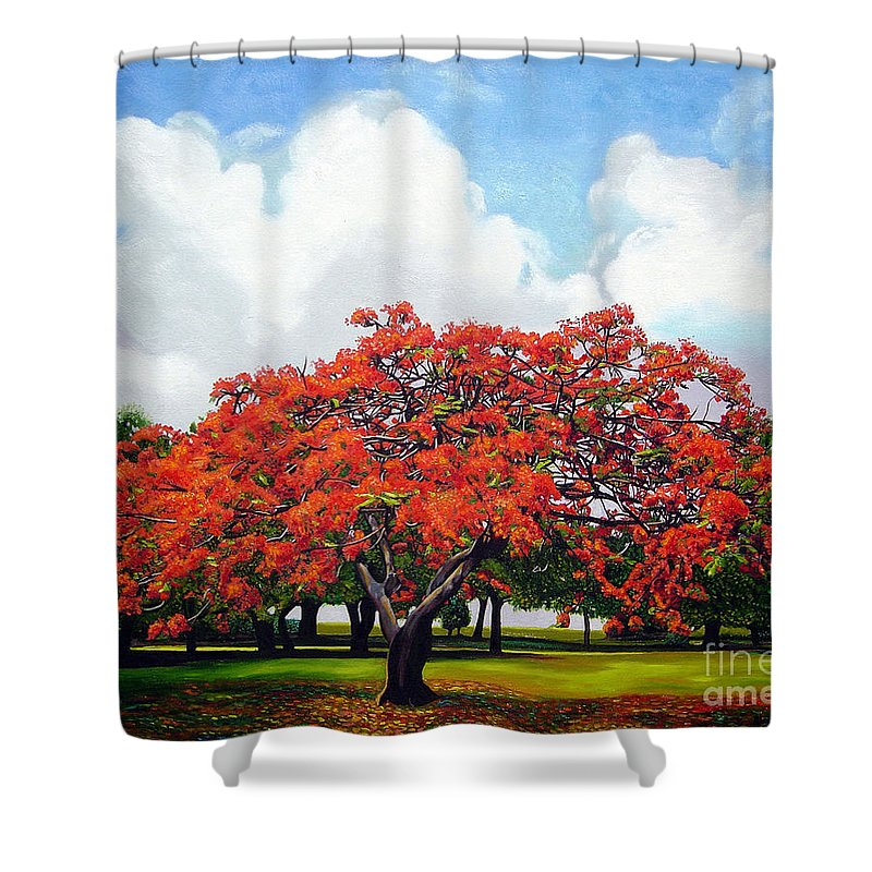 Cuban Art Shower Curtain featuring the painting Flamboyan by Jose Manuel Abraham