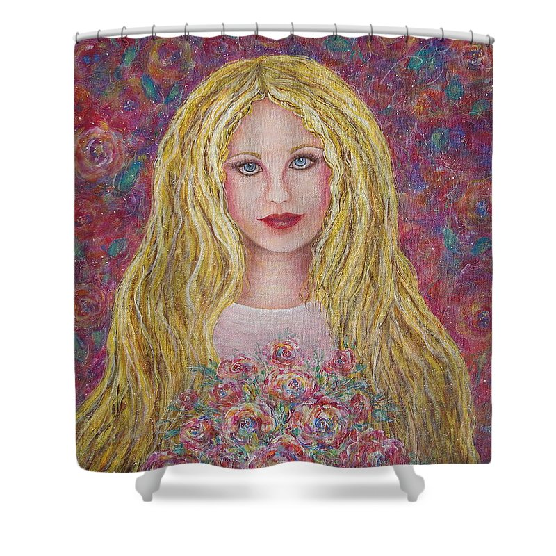Figurative Art Shower Curtain featuring the painting Flowers For You by Natalie Holland