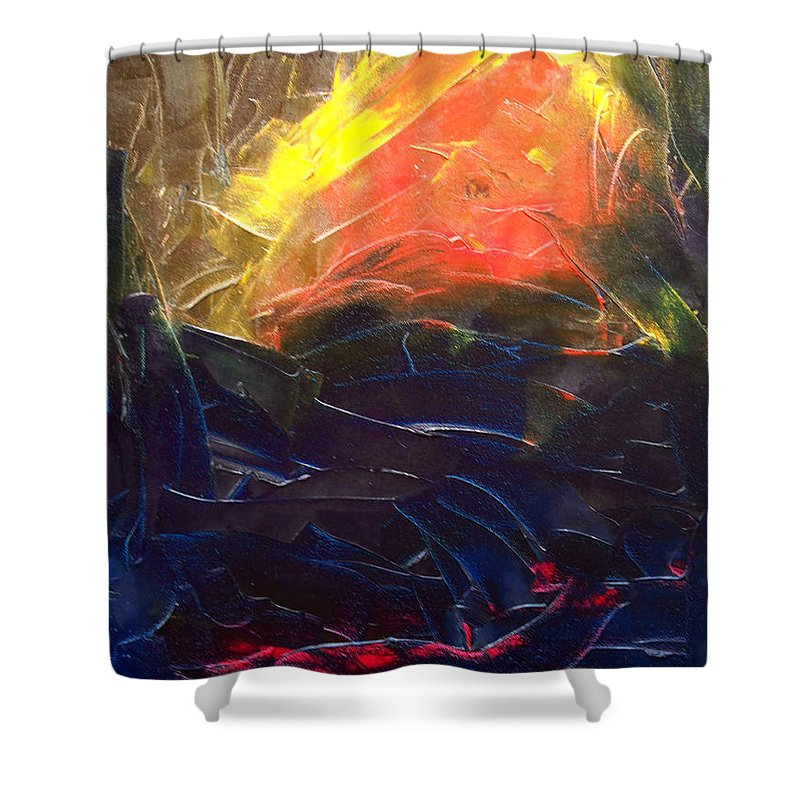 Duck Shower Curtain featuring the painting Forest .Part1 by Sergey Bezhinets