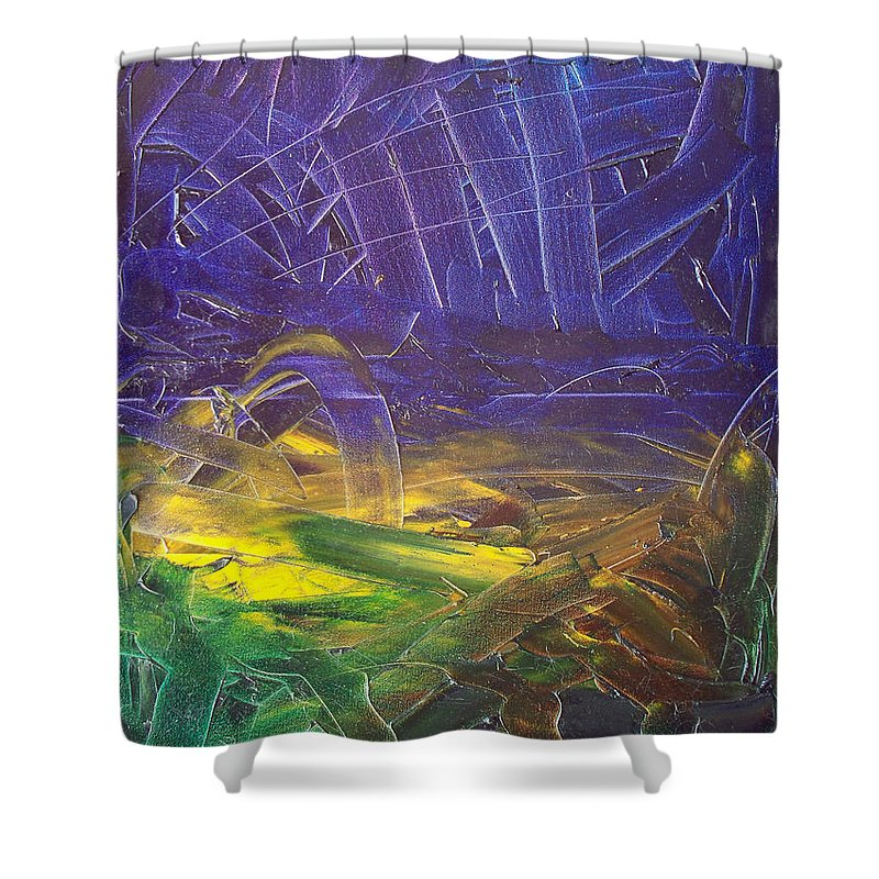 Painting Shower Curtain featuring the painting Forest. Part2 by Sergey Bezhinets