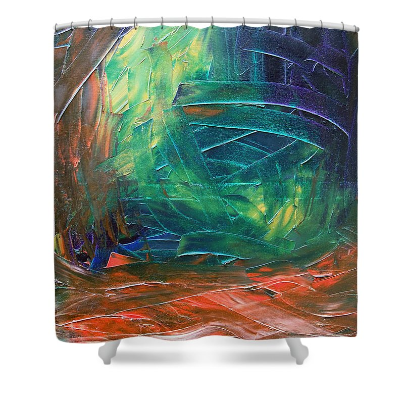 Painting Shower Curtain featuring the painting Forest.Part3 by Sergey Bezhinets