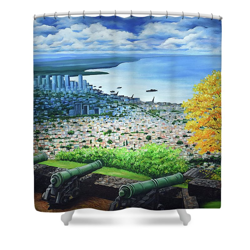 Fort Shower Curtain featuring the painting FORT GEORGE  Trinidad by Karin Dawn Kelshall- Best