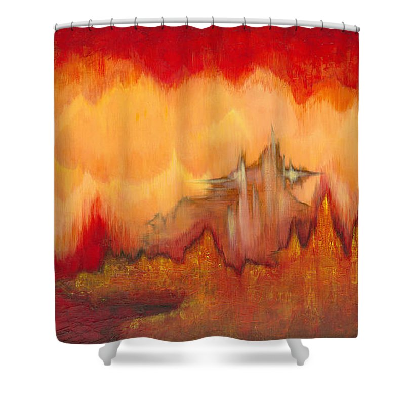 Red Shower Curtain featuring the painting From the Valley by Shadia Derbyshire